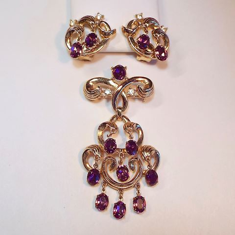 Vintage Trifari Brooch & Earrings, Dangly Amethyst