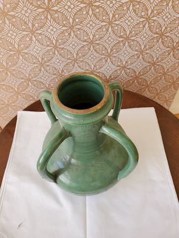 Handmade green 4 handled vase Italian