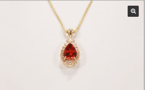 GOLD 14K Hessonite Garnet 6.65 Carat Pendant