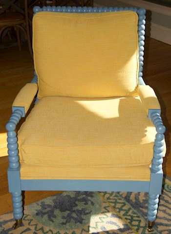Blue Painted Wood Frame Armchair: #2