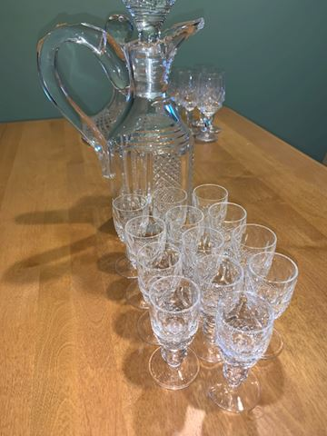 Waterford decanter and glasses
