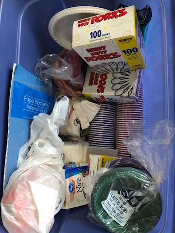 Lot of paper products, disposable plates, utensils