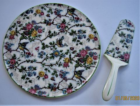 Chintz Pattern Cake Plate with Server