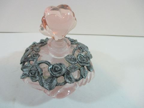 Vintage Silver Rose and Pink Perfume Bottle