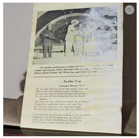 1959 Wilma & Stoney Cooper Song Album Brochure