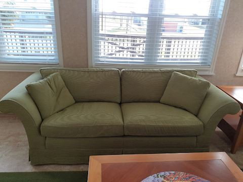 2 Green Down Stuffed Couches