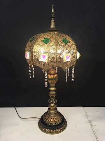 Hollywood Regency Brass Crystal Lamp 32 x 12""