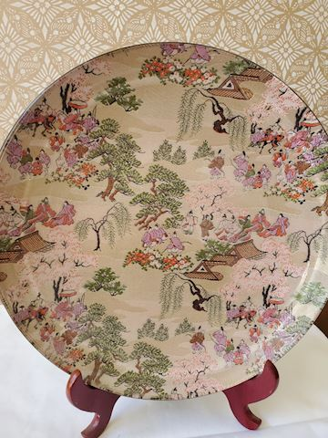 Japanese silk embroidery under glass plate
