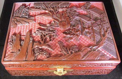 Red Cinnabar Chinese Jewelry Box