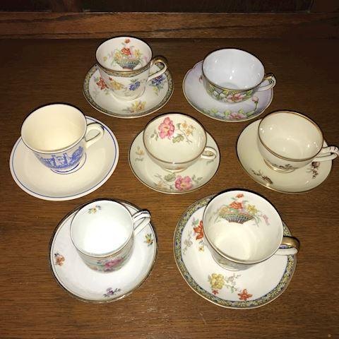 Lot of 7 Vintage Demitasse Cups & Saucers