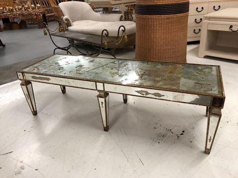 Vintage reverse painted mirrored  eglomised table
