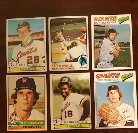 6 Vintage San Francisco Giants Baseball Cards
