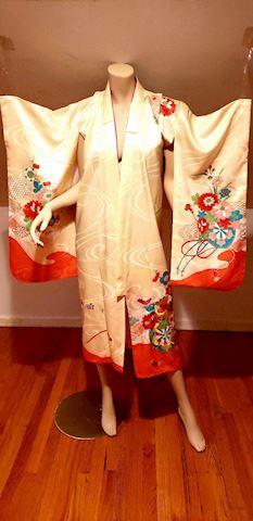 Vtg Japanese gold Embroidered Kimono robe W/belt