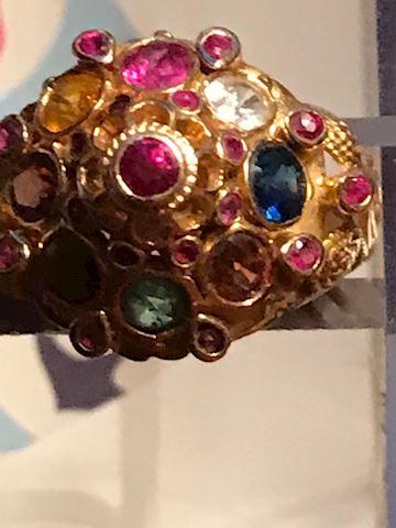 Ladies Size 7.5 14kt Muti-gem ring