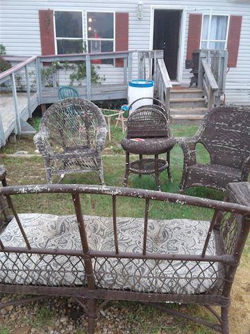 6 piece vintage wicker patio set