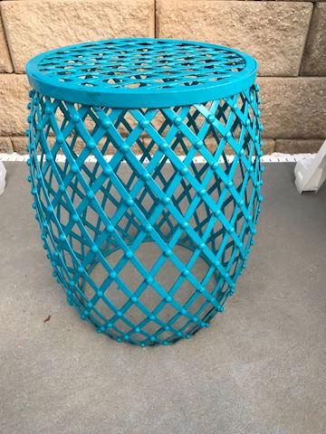 Blue iron outdoor side table