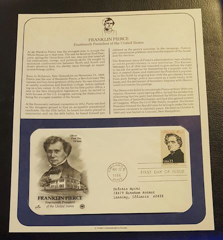 Franklin Pierce 1986 First Day of Issue Cover
