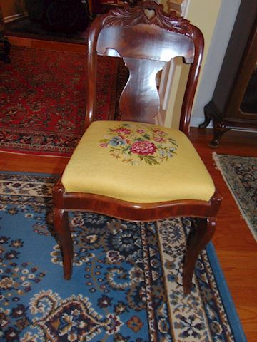 Antique Mahogany and Cherry Needlepoint Chairs