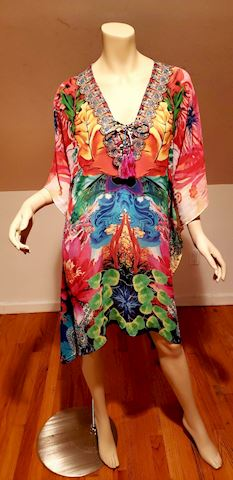 Silk Chiffon Kaftan Dress crystal beads embllished