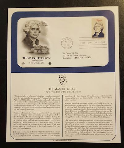 Thomas Jefferson 1986 First Day of Issue Cover