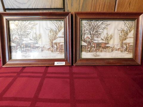 "163 2 Hand-Stitched Pictures ""Farmyard in Winter"""