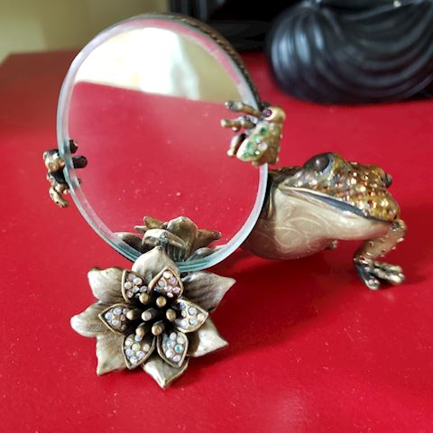 JAY STRONGWATER FROG MIRROR SWAROVSKY CRYSTALS