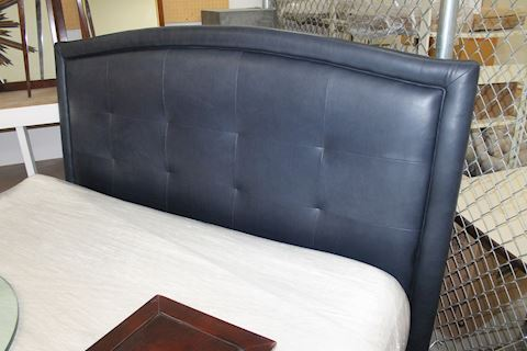 King Navy Leather Headboard, Merchandise Mart
