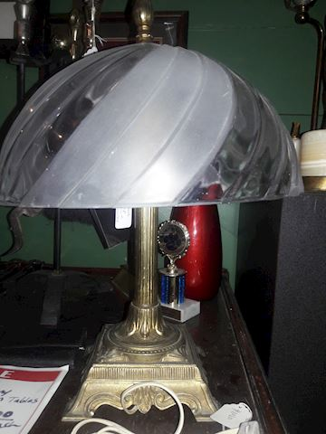 Vintage Metal Lamp with Glass shade
