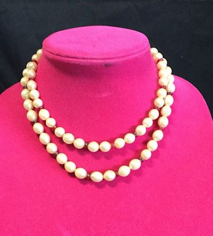 Vintage Faux Pearl necklace red jewel clasp #80#20