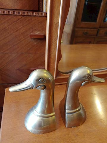 Antique Brass Ducks Bookends