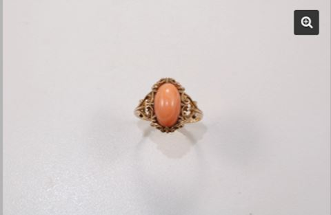 Gold 10K Victorian Coral Ring