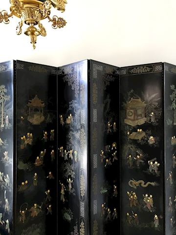 Folding Chinese Panel Floor Screen Black Inlaid