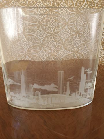 Etched glass oval vase