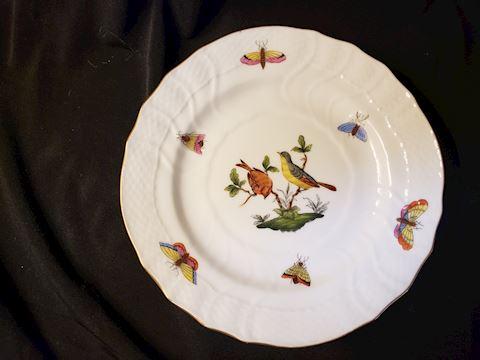 "HEREND ROTHSCHILD BIRDS 1515 RO 32 BREAD/BUTTER 6"""