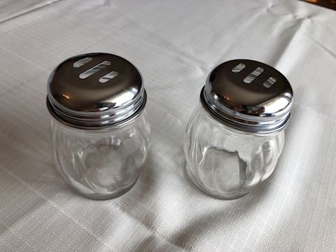 Set of two Parmesan cheese/pepper flake shakers