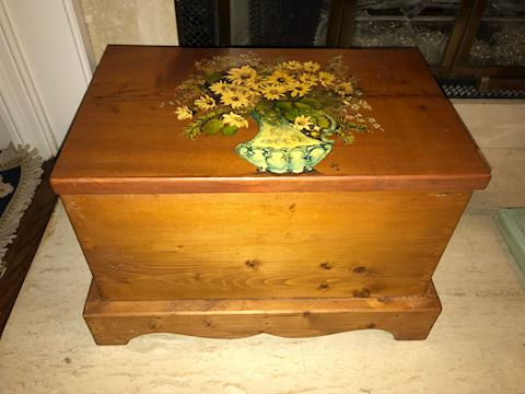 Small Wooden Trunk, Hand Painted Floral