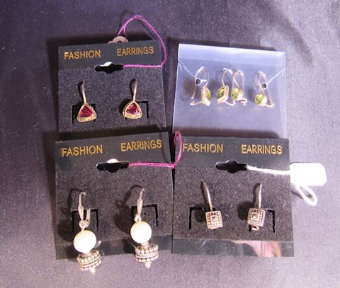 Lot of 5 Sterling Silver Costume Jewelry Earrings