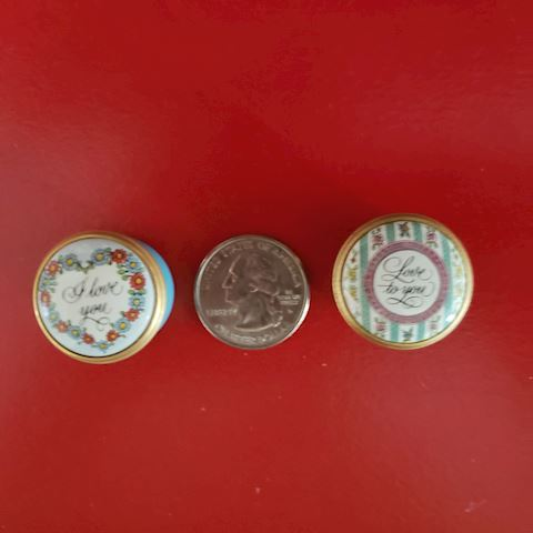 "PR. OF HALCYON DAYS ""LOVE"" MINIATURE TRINKET BOXES"