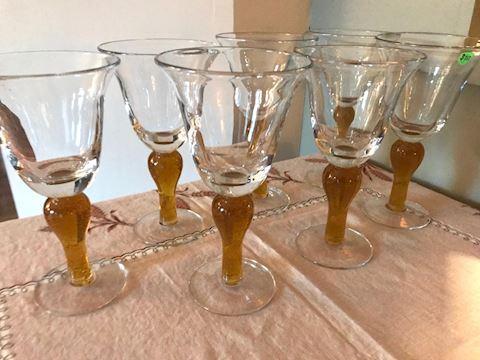 Hand blown glass goblets