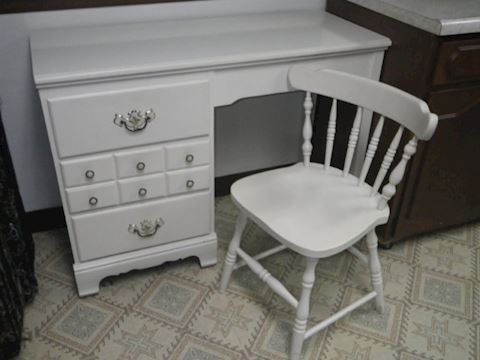 White Desk with Matching Chair