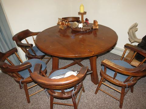 Solid Wood Round Table with Five Chairs