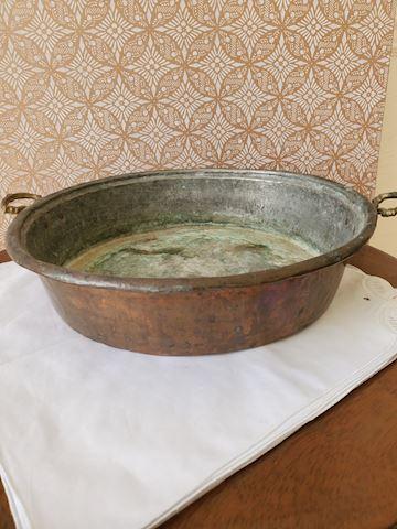 Rustic copper wash-pan beautifully patinated
