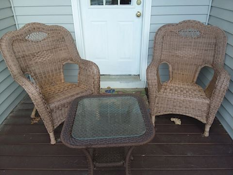 Wicker Patio Chair Set & Glass Top Table