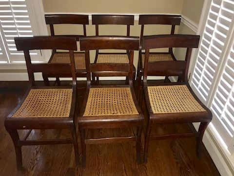 Set of 6 Antique Walnut Caned Dining Chairs