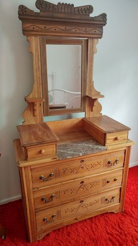 Antique Wash Stand Oak Marble Top w/ Mirror