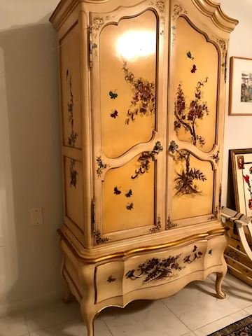 Handpainted French Provencial Armoire  Solid Wood