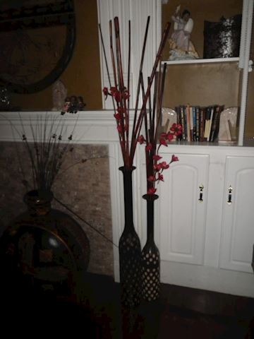 Pair of Tall Vases- Black with Gold Colored Accent