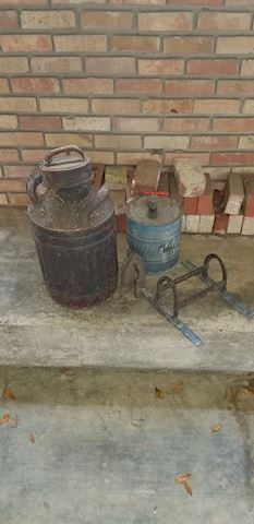 R 505   Old Milk Can and Gas Can