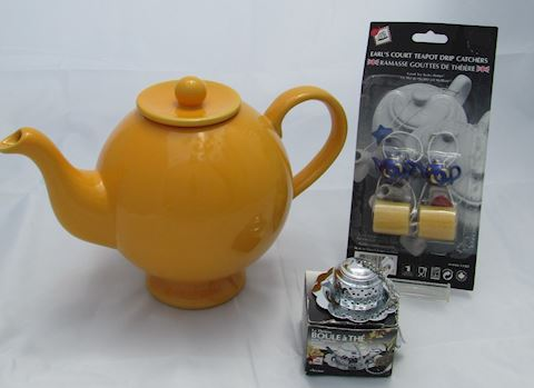 Amber Hues N Brews Teapot 3pc Lot