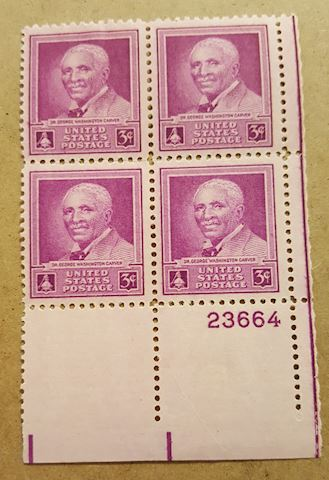 Plate  Block of 4 George Washington Carver Stamps
